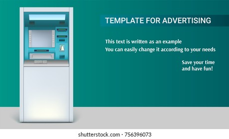 Template with Bank Cash Machine for advertisement on horizontal long backdrop, 3D illustration. ATM - Automated teller machine. Apparatus for withdrawing