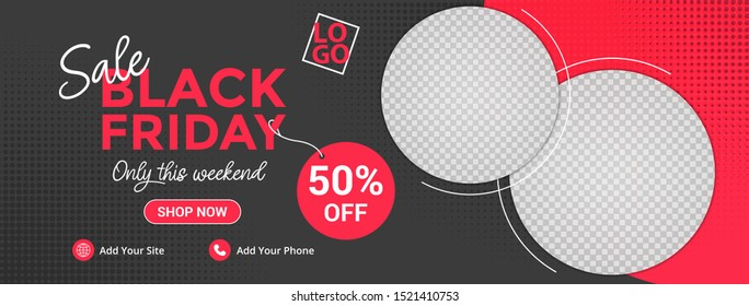 Template banner and cover ads, can use for social media, template sale with black and red color, file with layered and eps 10