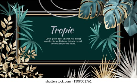 Template banner dark leaves of tropical exotic plants. Background jungle with palm trees and lianas. Vector 3d illustration with space for text.