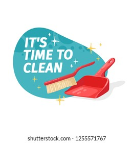 Template banner with for house cleaning. Layout for Cleaning service with household good.  Dustbag with brush. Cleaning supplies. Vector.