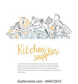 Template of banner with kitchen tools element in doodle sketch style.