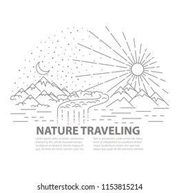 Template banner with Mountains and hills, river and forest landscape on white background. Day and night concept. Flat line style travel banner. Vector illustration.