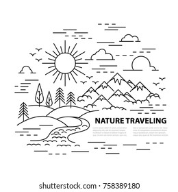Template banner with Mountains and hills, river and forest landscape on white background. Flat line style travel banner. Vector illustration.