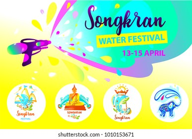 Template banner poster, flyer with text Songkran Water Festival. Happy party in Thailand. Spring Songkran festival with elephant, statue buddha and temple. Concept for travel agency, company, bureau.