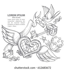 Template for banner or poster. Heart with wings and a swallow. Drawing for coloring.