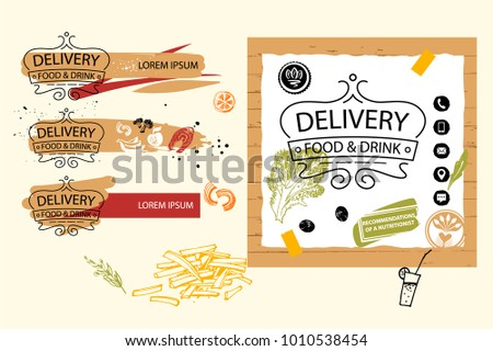 Template banner, poster, logo for food delivery service company. Homemade cuisine for home