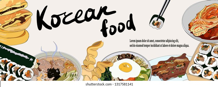 Template banner with a set of Korean dishes for websites or social network. Traditional Korean dishes bibimbap, hotteok, kimchi, oden, galbi-gui, guksu, gimbap. Vector hand drawn illustration.