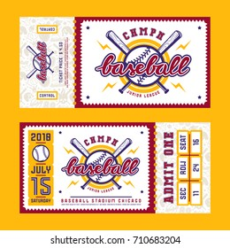 Template for baseball ticket. Graphic design with lettering
