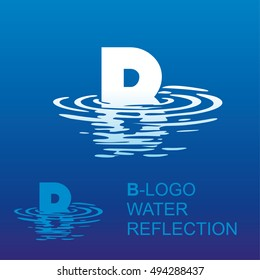 Template B-brand-name companies. Corporate style for the letter B: logo, background. Creative logo letter in the reflection in the water