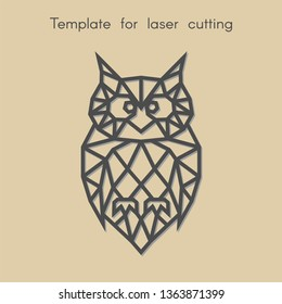 Template bird for laser cutting. Abstract geometric owl for cut. Stencil for decorative panel of wood, metal, paper. Vector illustration.