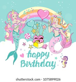 Template birhday card with beautiful mermaid