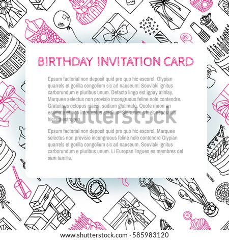 Template For Birthday Invitation Card With Illustration Of Balloons Cakes Gifts Plates