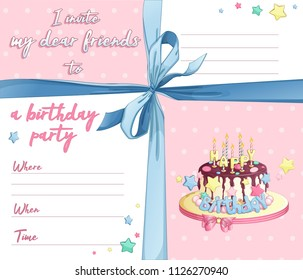 A template for the birthday invitation of a girl, a little princess. Blue bow, pink background with polka dots, lines for text and celebratory cake with candles. Vector illustration.