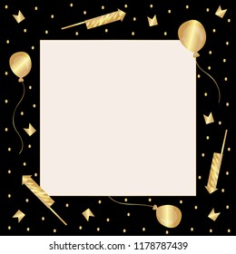 Template. Black frame with golden confetti, firecrackers, balloons and flags. In the center is a light square with  a golden stroke. Vector.