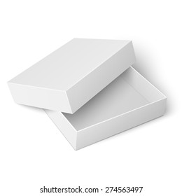 Template of blank cardboard box with opened lid lying on white background Packaging collection. Vector illustration.