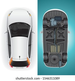 Template blank of a modern white car top and bottom view. Illustration of an inverted car.