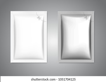 Template of blank sachet packaging for food, cosmetic and hygiene. Vector illustration on gray background. Ready for your design. EPS10.