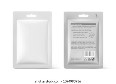 Template of blank sachet packaging for food, cosmetic and hygiene. Vector illustration on white background. Ready for your design. EPS10.