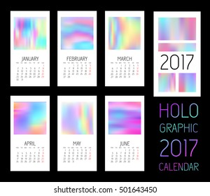 Template blank wall calendar 2017, six months, watercolor, vector mesh imitation holographic film, hologram paper, pearl rainbow iridescent effect, corporate style, business, company gift, EPS 10