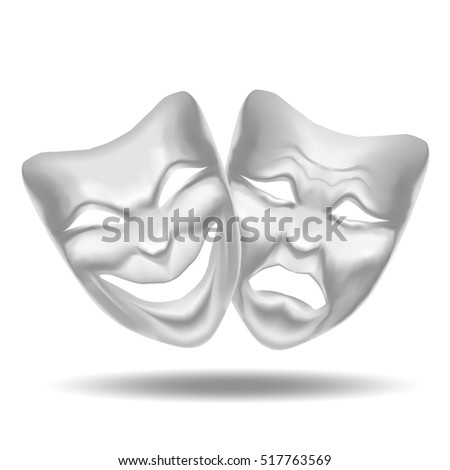 Template Blank White Comedy Tragedy Mask Stock Vector (Royalty Free ...