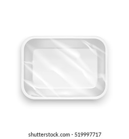 Template Blank White Plastic Food Container. Realistic Empty Mock Up Vector illustration