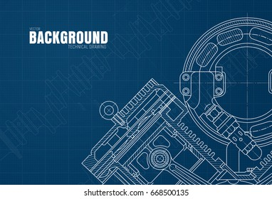 Template of blue background with graph paper and drawings of parts and mechanisms. Vector illustration