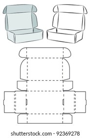 Template of a box (does not need need glue to assemble)