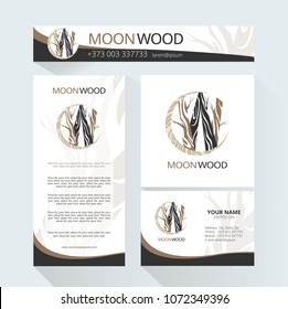 Template  for the brand Moon Wood company , wood factory, wood carvers, wood floor, shop, bar. Business card, banner, pattern, brochure template.