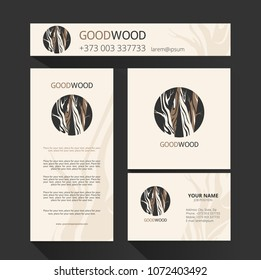 Template  for the brand moon wood company , wood factory, wood carvers, wood floor, shop, bar. Element for design Business card, banner, brochure template.