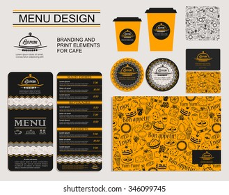 Template for branding identity restaurant or cafe. Set of menu, business cards, labels. Bright design concept in black and yellow.