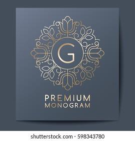 Template for branding and logo design : Letter G in Floral monogram : Vector Illustration