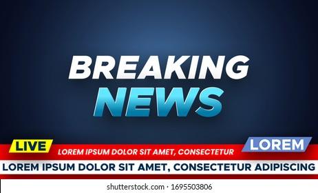 Template for breaking news background. Vector illustration.