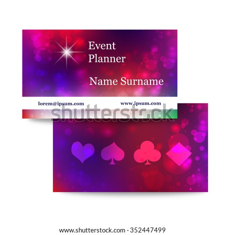 Template Bright Business Cards Event Planner Stock Vector Royalty