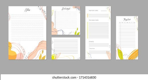 Template of bright and colorful organization sheets. List Notes, Things to do, don't forget, grateful day, planner, secondary and high tasks
