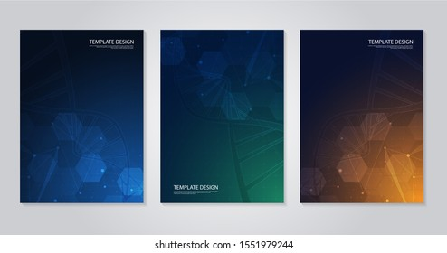 Template brochure or cover book, page layout, flyer design. Concept and idea for health care, technology. science icon pattern medical innovation concept. vector design.