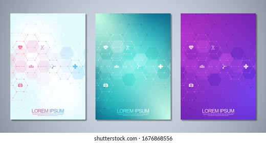 Template brochure or cover book, page layout, flyer design. Concept and idea for health care business, innovation medicine, pharmacy, technology. Medical background with flat icons and symbols