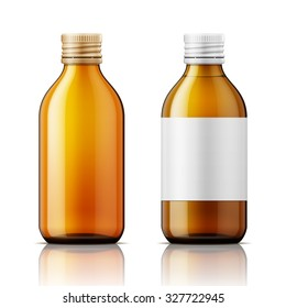 Template of brown glass bottle with screw cap, filled with liquid and empty. For medicine, syrup, pills, tabs. Packaging collection. Vector illustration.