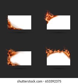 template of burning paper, isolated on a dark background. realistic fire. vector illustration
