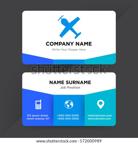 Template Business Card Travel Agency Airline Stock Vector Royalty