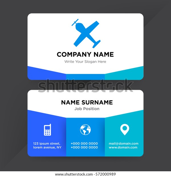Template Business Card Travel Agency Airline Stock Vector