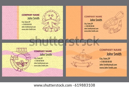 Template Business Cards Image Marine Inhabitants Stock Vector