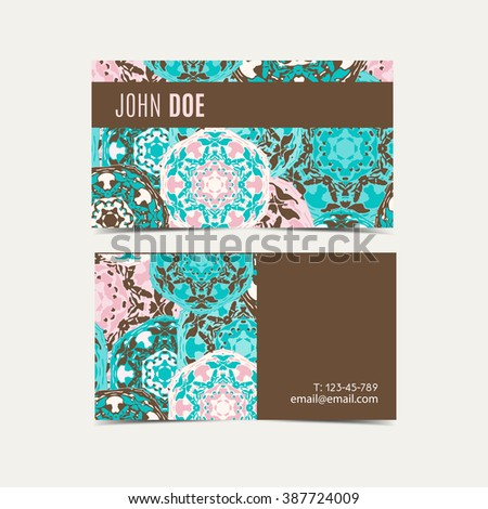 Template Business Cards Oriental Islamic Pattern Stock Vector