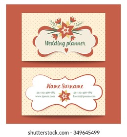 template business cards for wedding planner or florist. Vintage vector set of business cards in retro style. Beautiful frame for text with flowers.