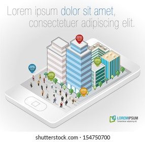 Template with business people in the street of a isometric city over smart phone