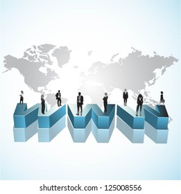 Template of business people team with world map and 3d www. Vector illustration.