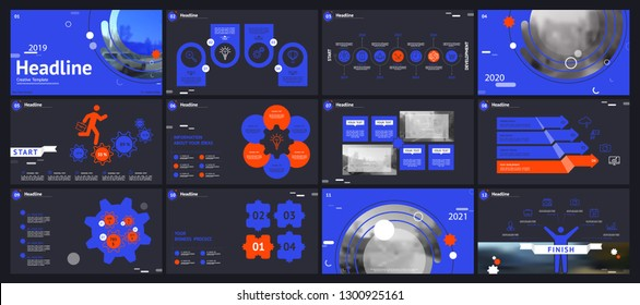 Template for business presentations. Blue, orange elements on a black background. Multipurpose slide, Infographics, monitor, cover postcard, report, advertisement, text, brochure,marketing and banner