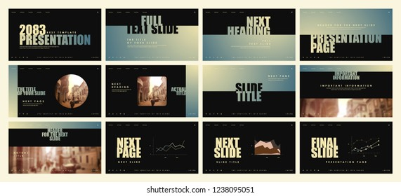 Template for business presentations. Pastel Turquoise and Grayish pink elements on a dark background. Presentation slide, flyer leaflet, brochure cover, report, marketing and banner