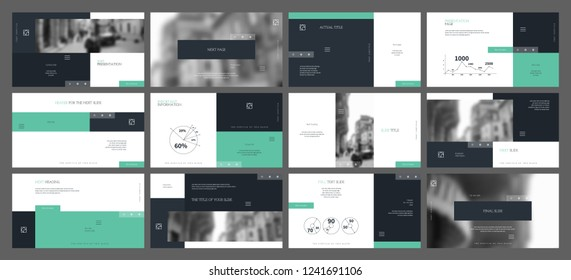 Template for business presentations. Temperate aquamarine and Dark gray blue elements on a white background. Presentation slide, flyer leaflet, brochure cover, report, marketing and banner