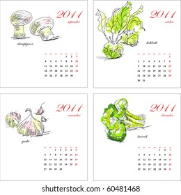 Template for calendar 2011. Vegetable. Part 3