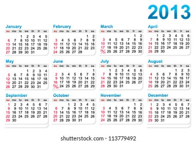 Template of a calendar 2013 year